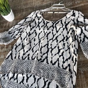 EUC Moon Collection sheer high-low blouse m
